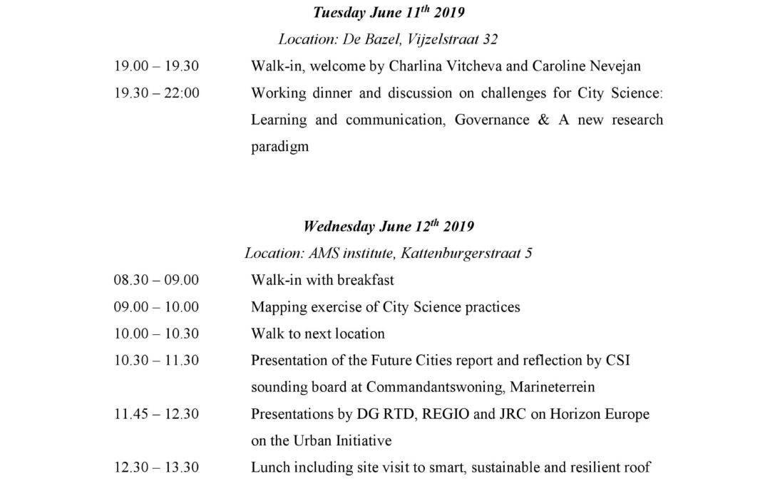 The 2nd meeting of the City Science Initiative – June 11th and 12th, Amsterdam