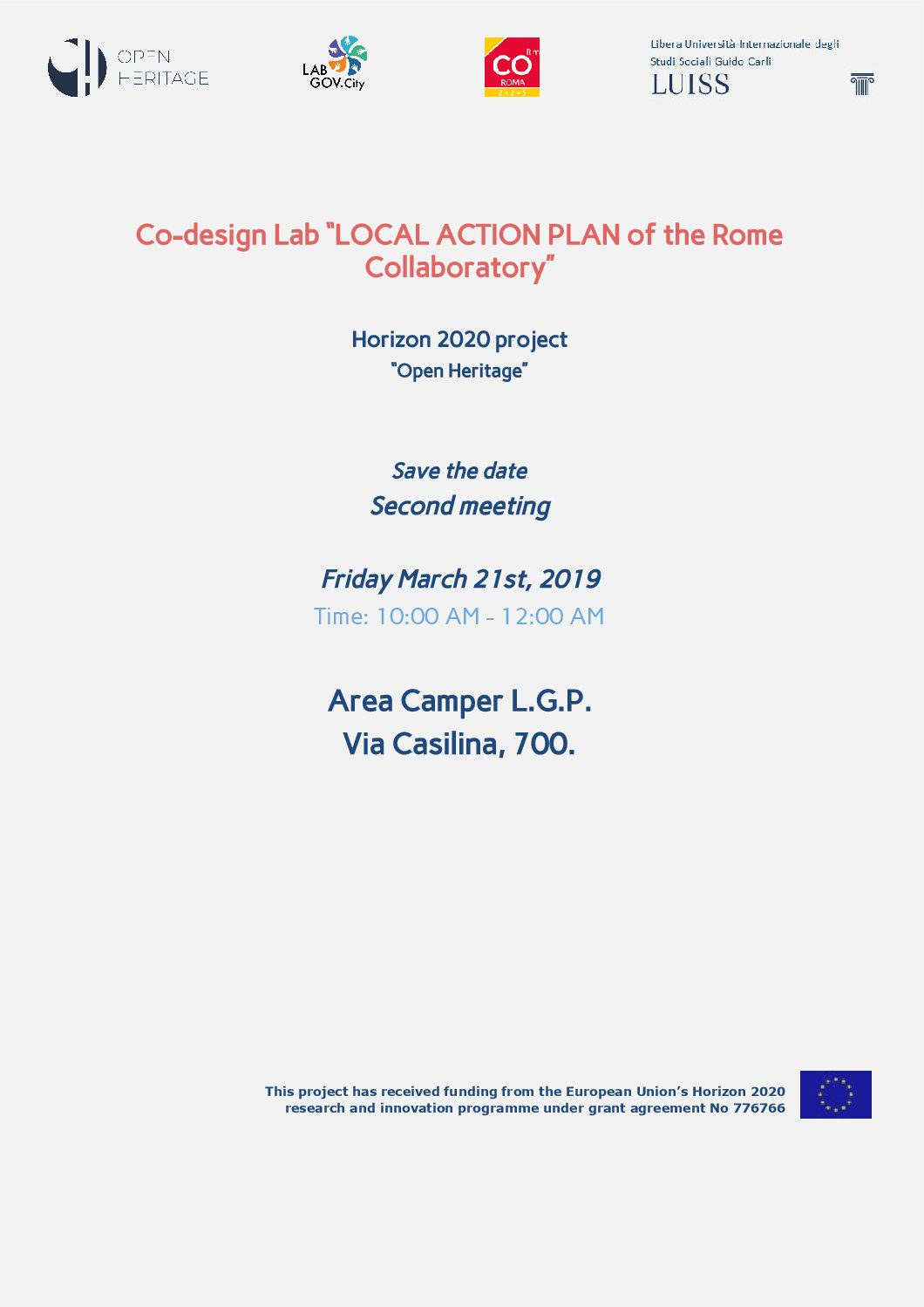 Save the date: second co-design session of the Rome Collaboratory for the Local Action Plan