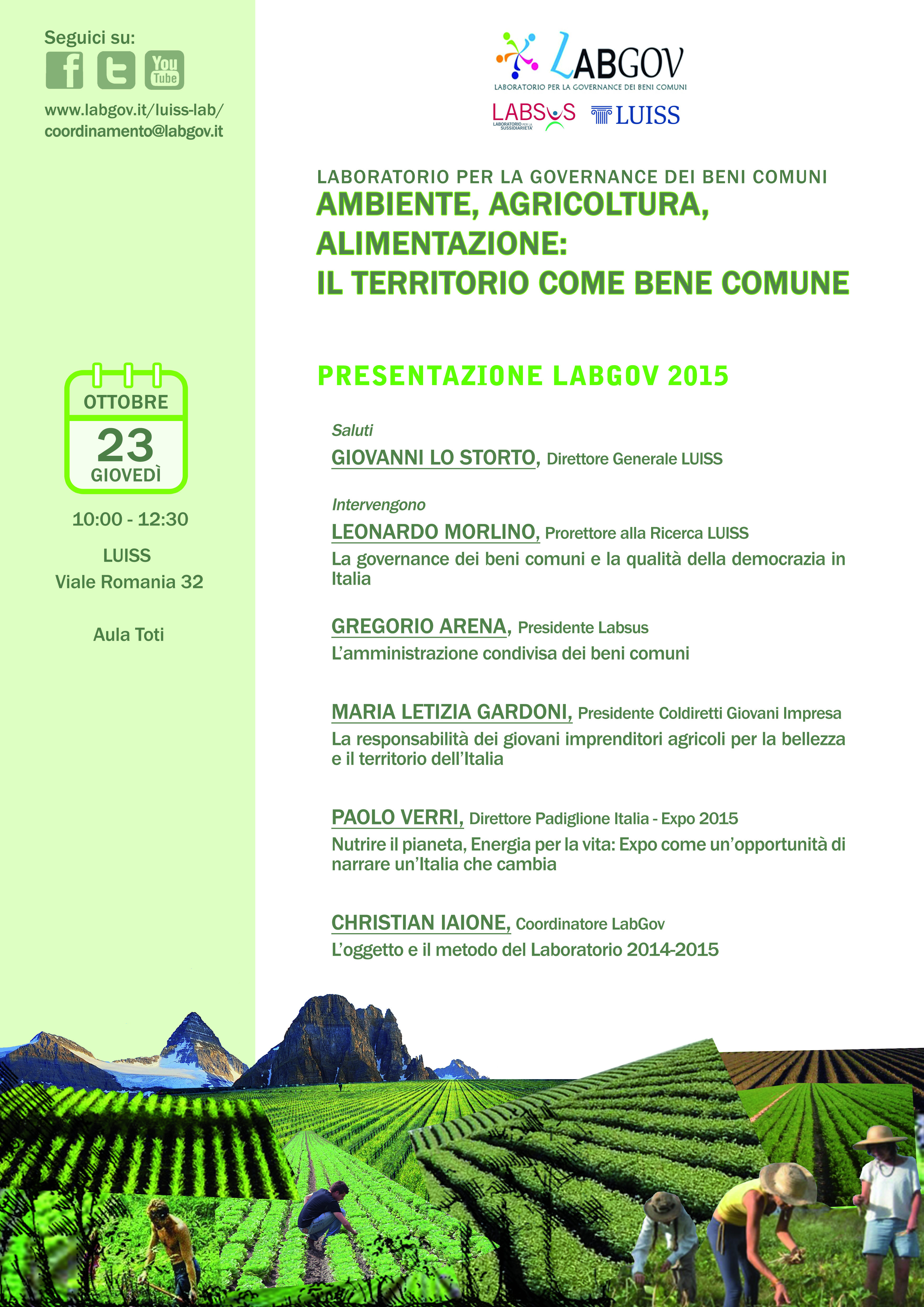 LabGov opening event: Environment, Agriculture and Food: the territory as a commons