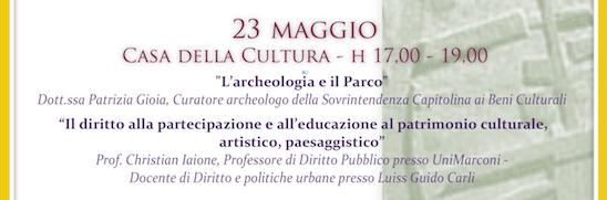 CICLO DI CONFERENZE ALLA SCOPERTA DEL PARCO DI CENTOCELLE