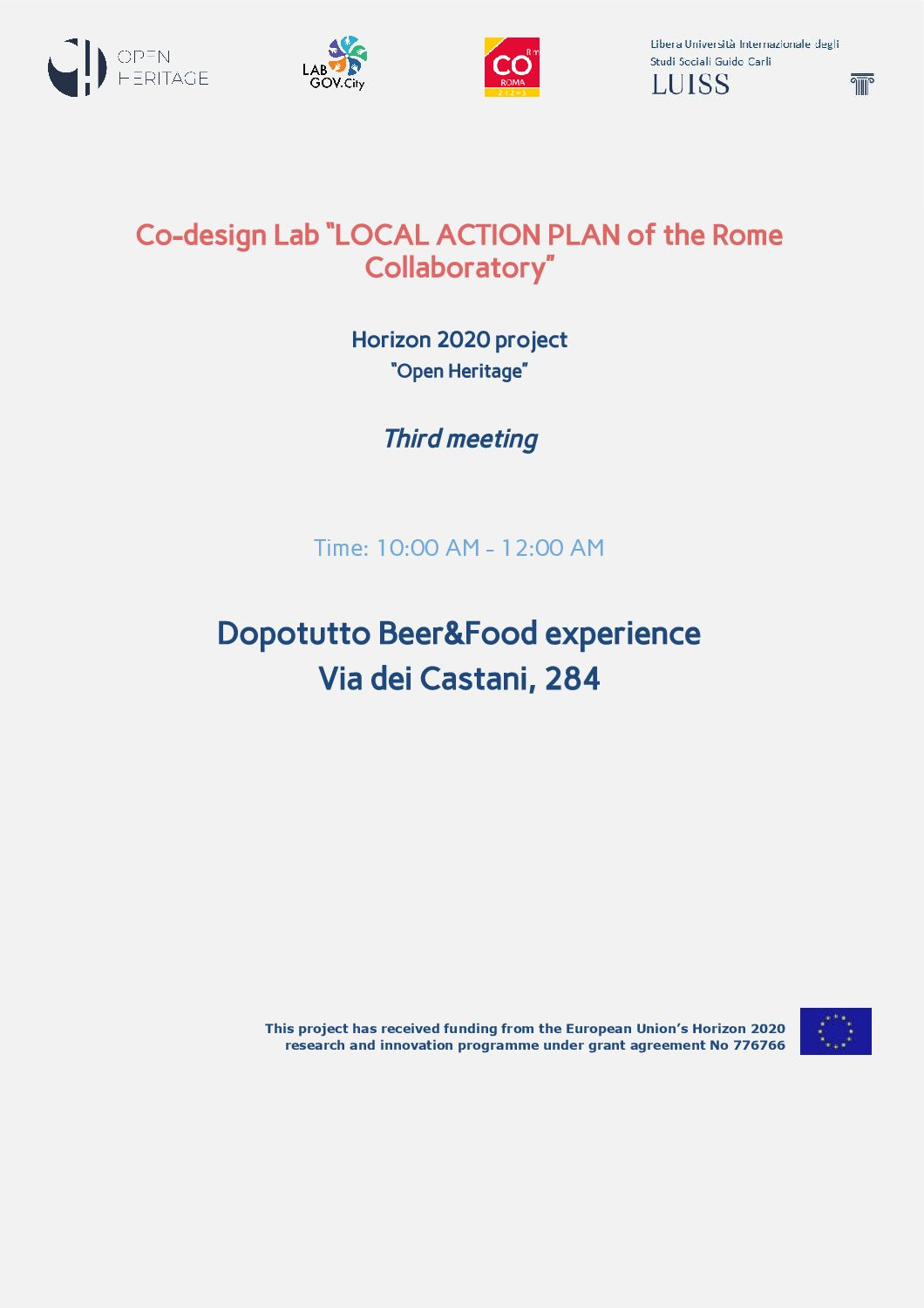 Save the date! The third co-design session of the Rome Collaboratory for the Local Action Plan is coming!