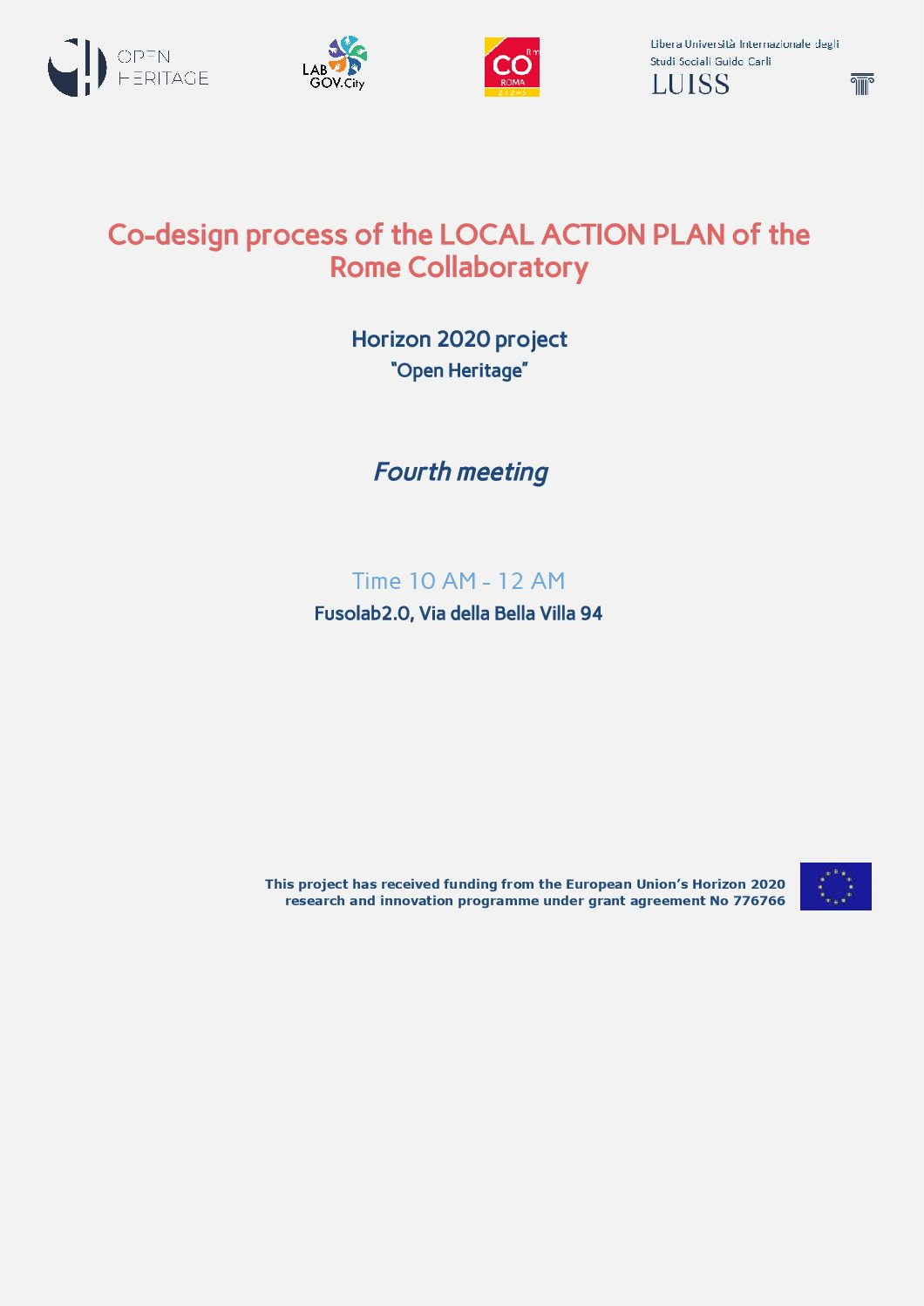 Save the date! The final Local Action Plan co-design session of the Rome Collaboratory is coming!