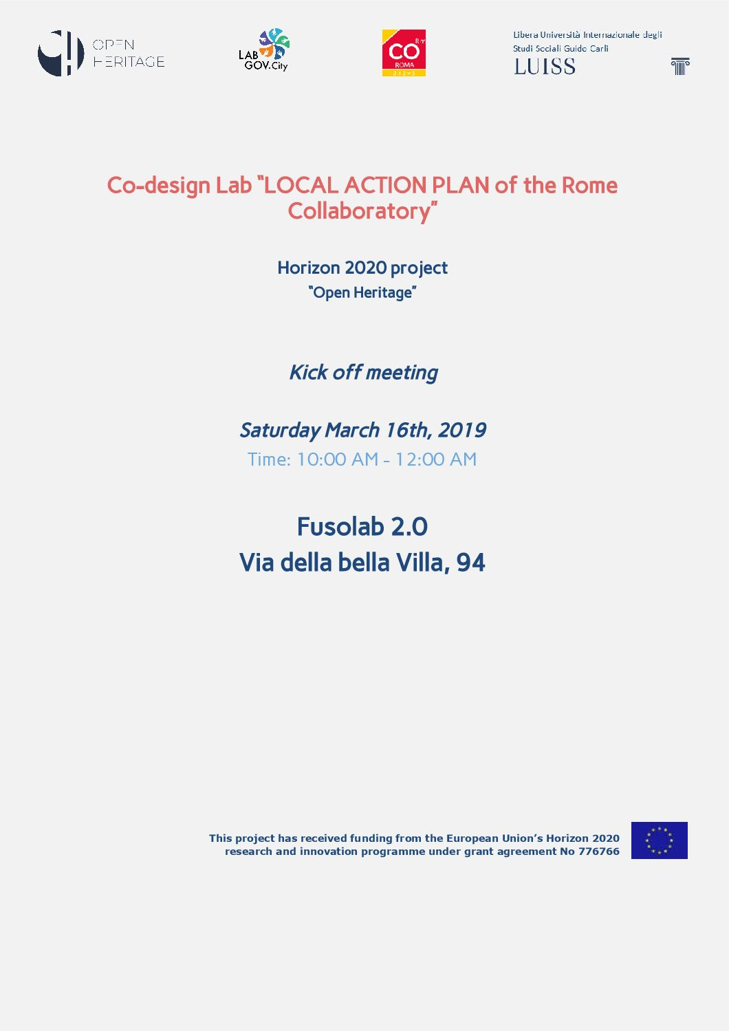 Launch of the incubation process of the Local Action Plan (LAP) of the Rome Collaboratory within the Open Heritage project.